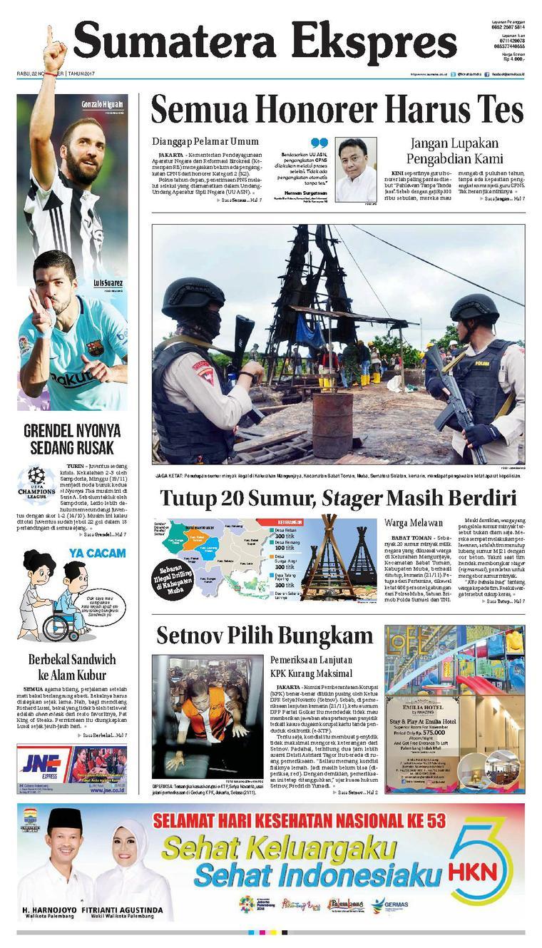 Sumatera Ekspres Digital Newspaper 22 November 2017