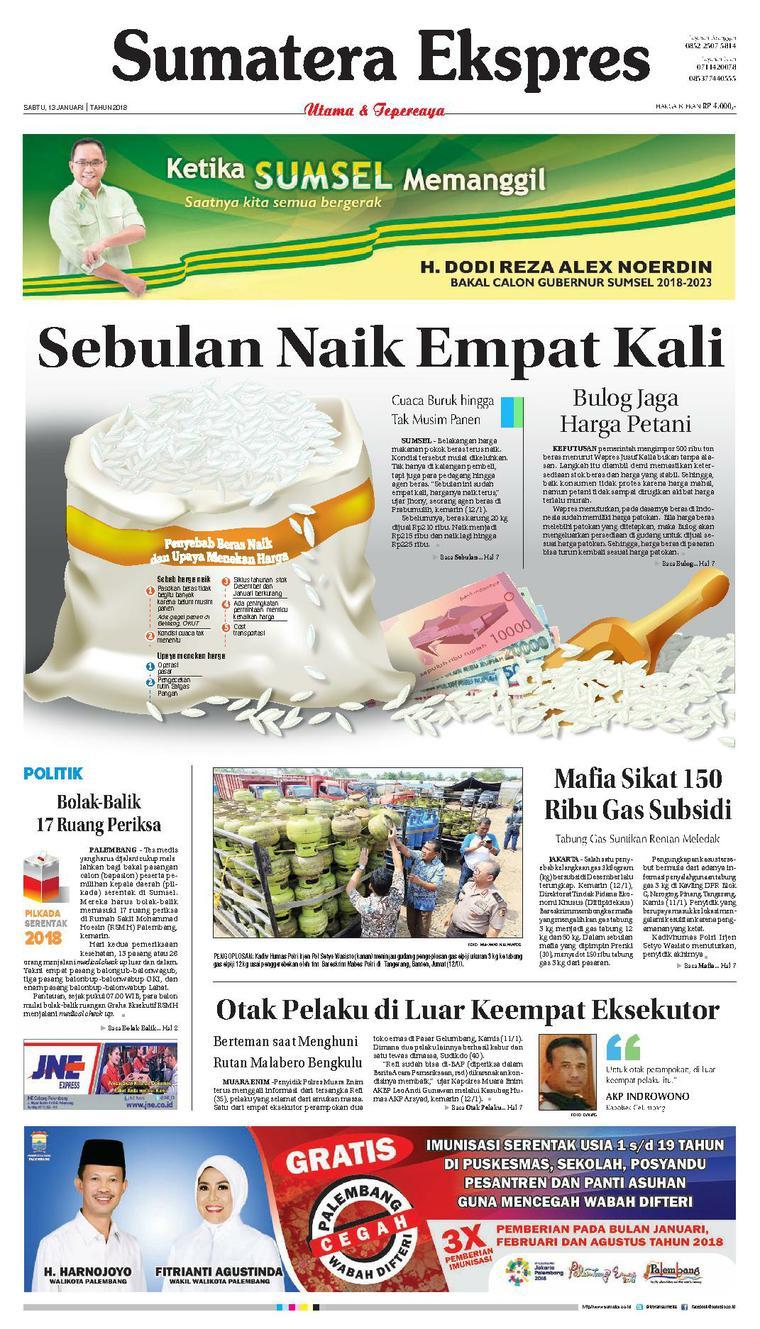 Koran Digital Sumatera Ekspres 13 Januari 2018