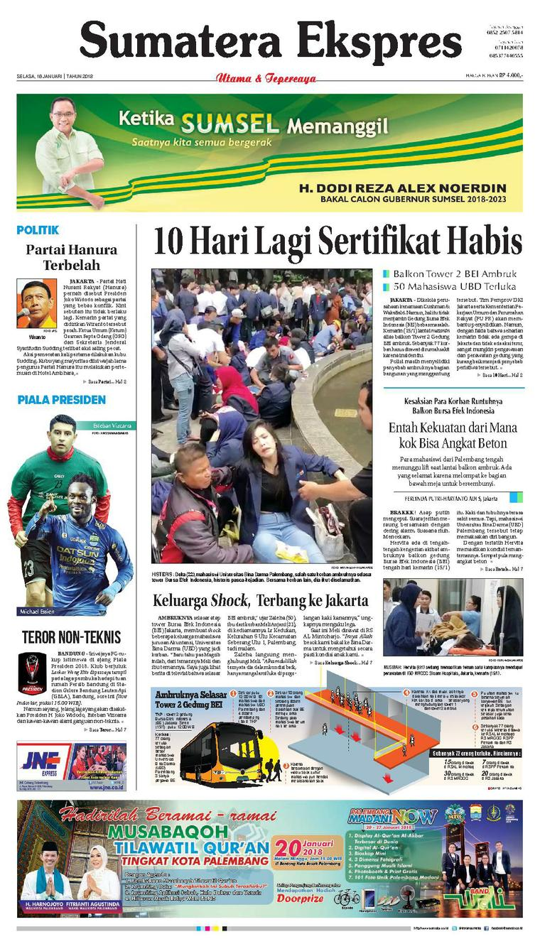 Koran Digital Sumatera Ekspres 16 Januari 2018