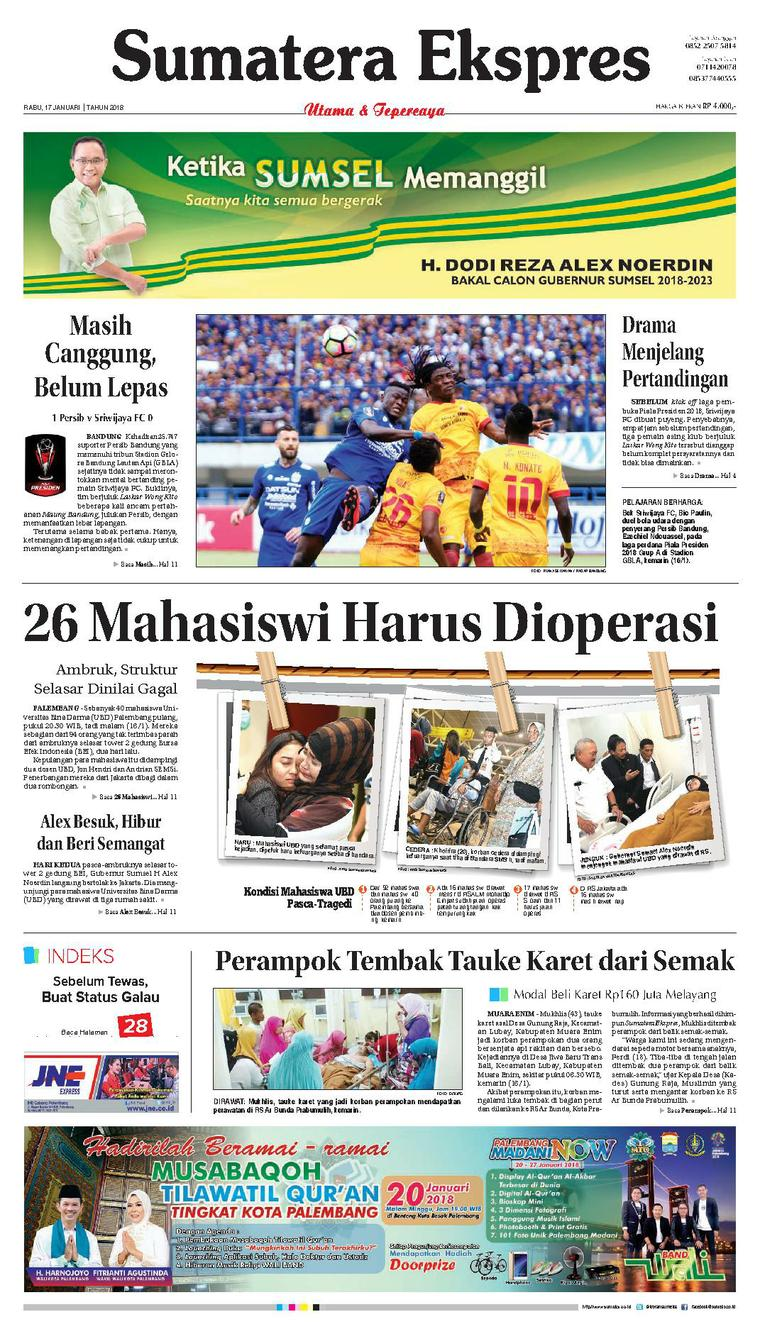 Koran Digital Sumatera Ekspres 17 Januari 2018