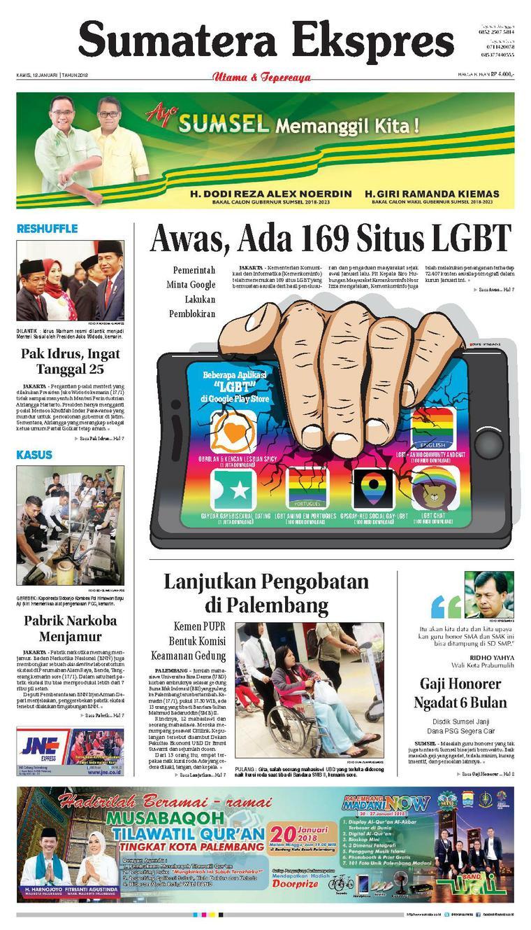 Koran Digital Sumatera Ekspres 18 Januari 2018