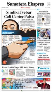 Cover Sumatera Ekspres 19 Maret 2018