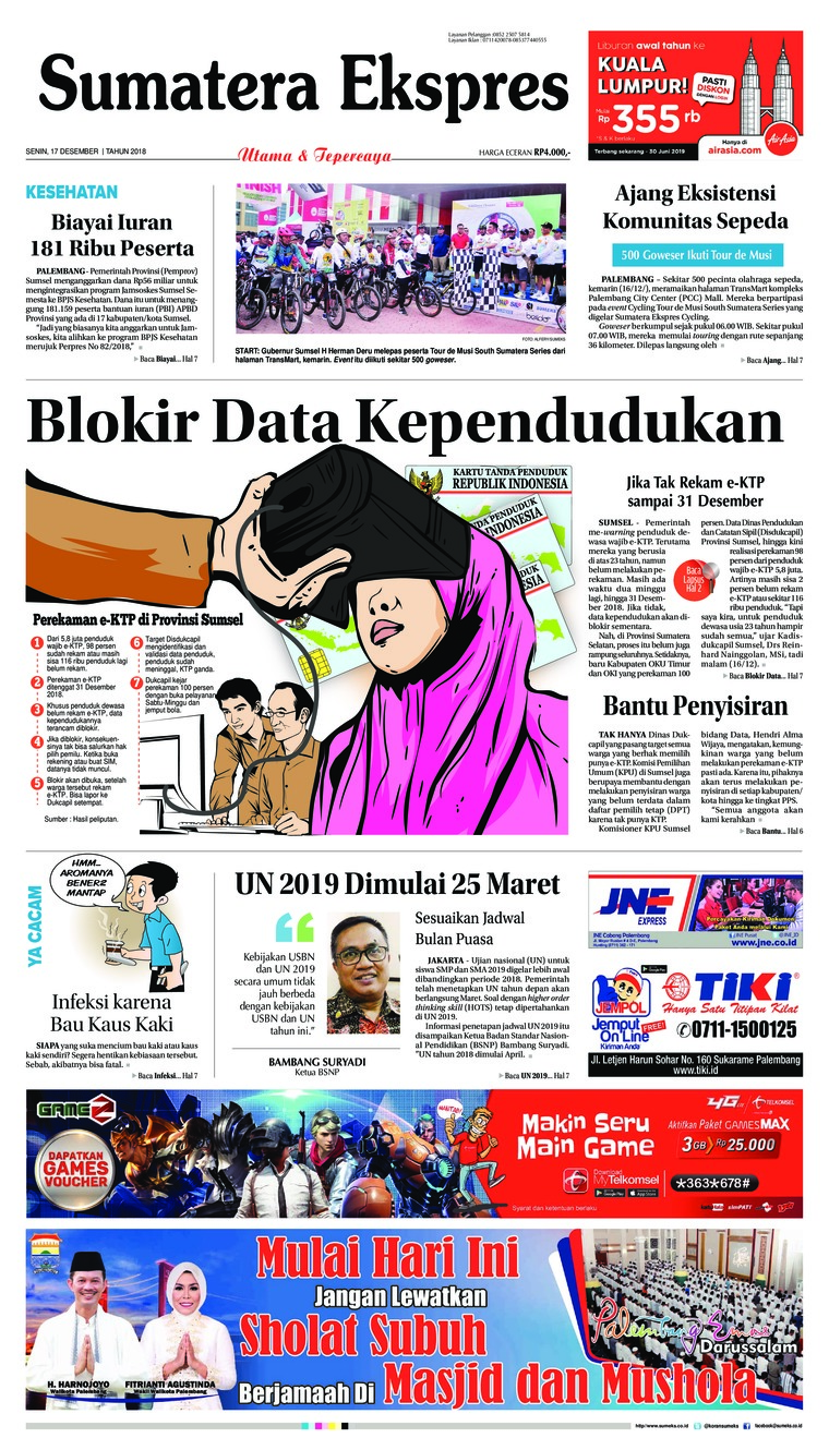 Sumatera Ekspres Digital Newspaper 17 December 2018