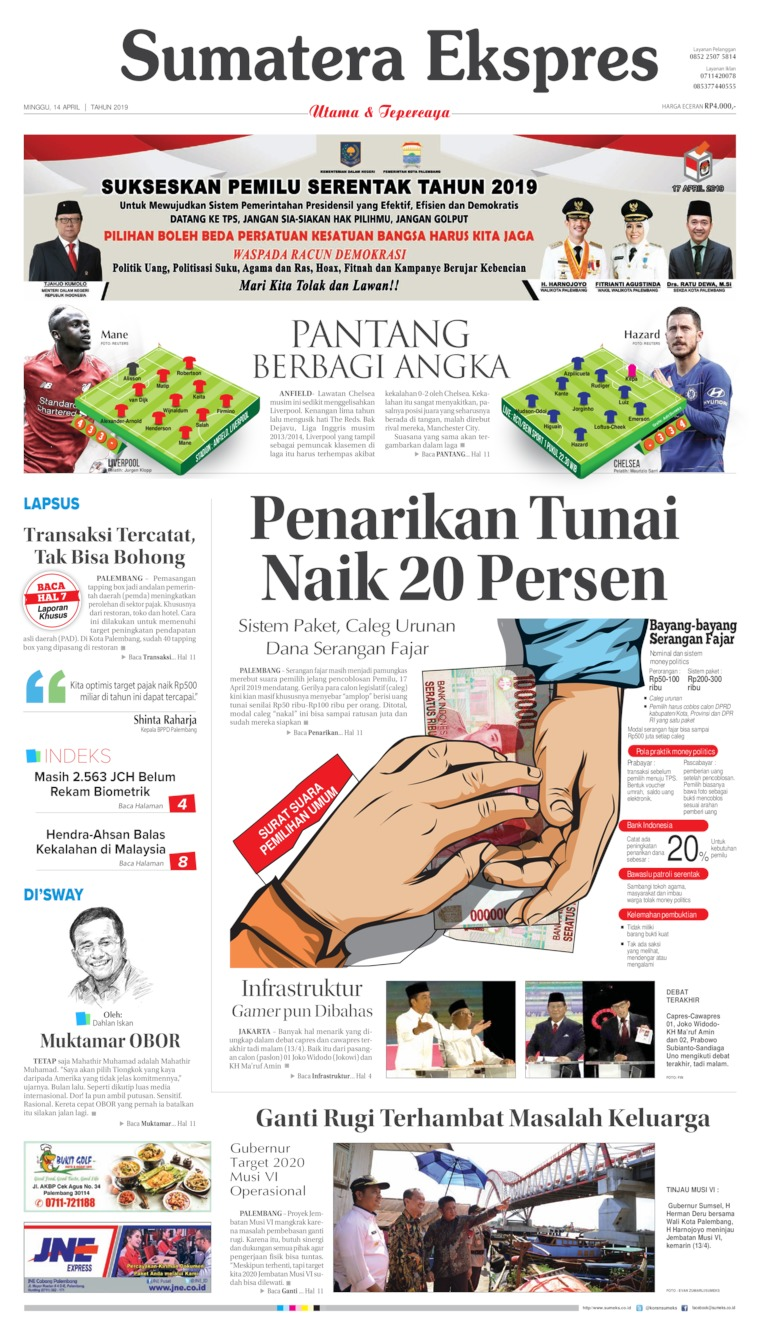 Sumatera Ekspres Digital Newspaper 14 April 2019