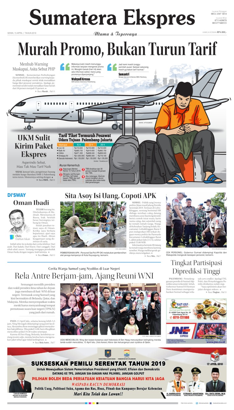Koran Digital Sumatera Ekspres 15 April 2019