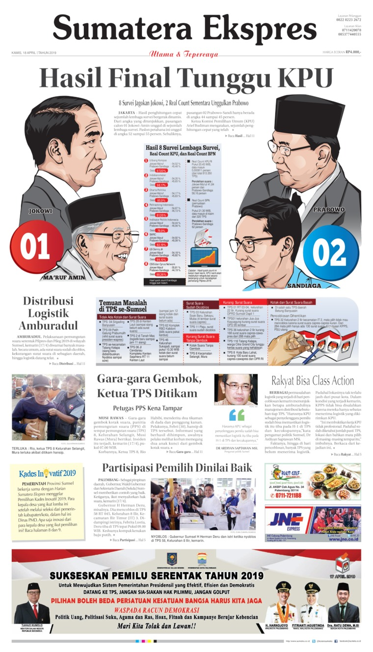 Sumatera Ekspres Digital Newspaper 18 April 2019