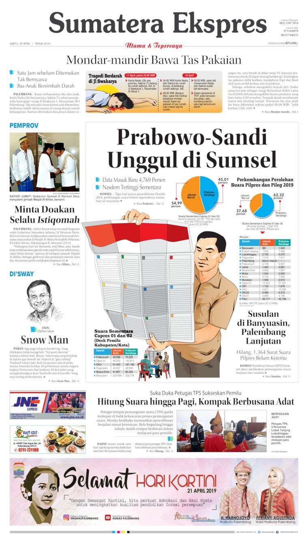 Sumatera Ekspres Digital Newspaper 20 April 2019