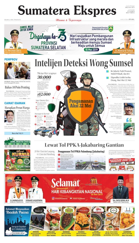 Sumatera Ekspres Digital Newspaper 21 May 2019