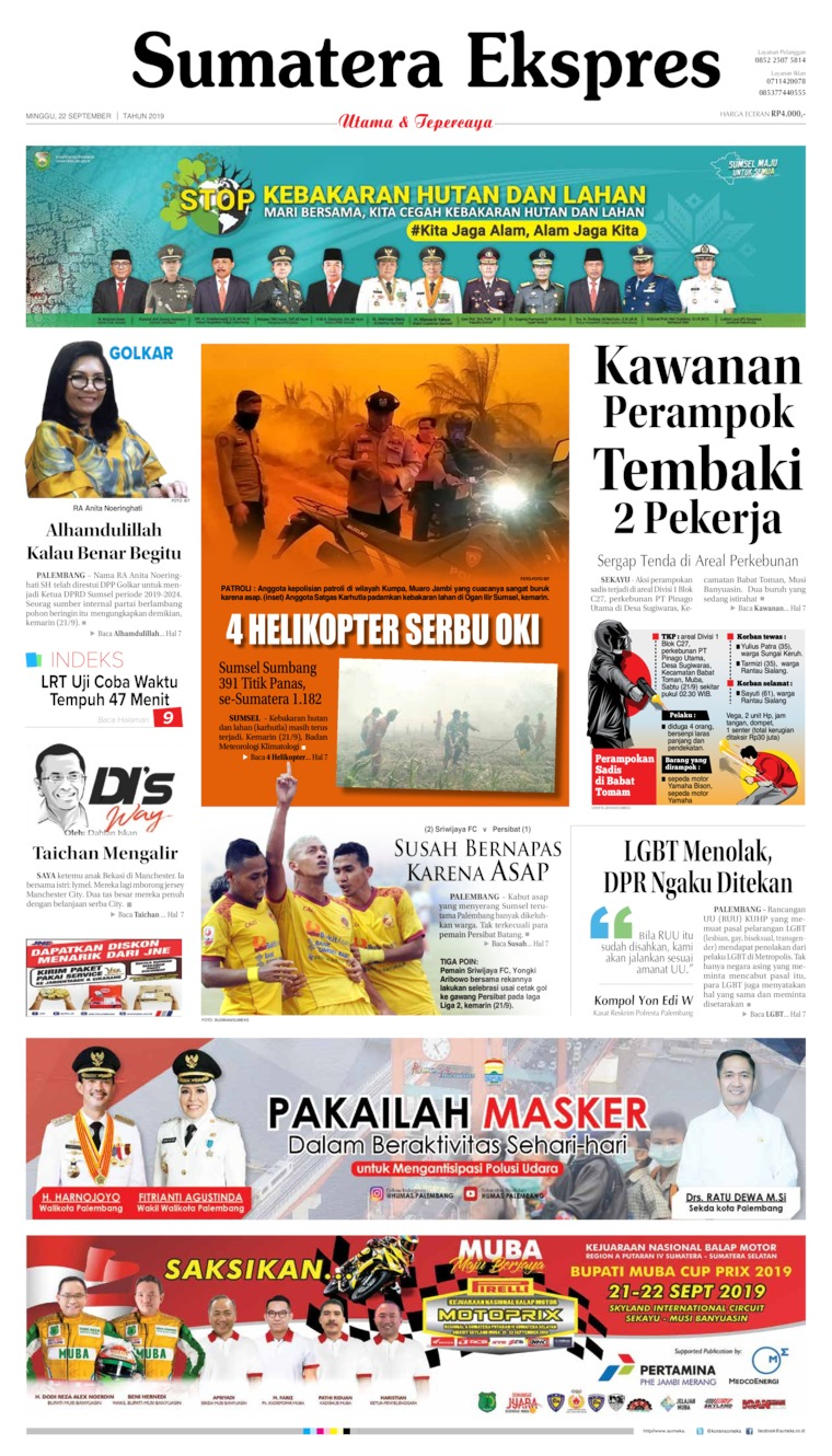 Koran Digital Sumatera Ekspres 22 September 2019