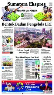Cover Sumatera Ekspres 24 Februari 2018