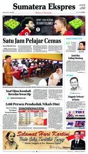 Cover Sumatera Ekspres 24 April 2018