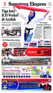 Cover Sumatera Ekspres 20 Agustus 2018