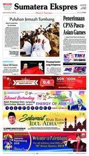 Cover Sumatera Ekspres 21 Agustus 2018
