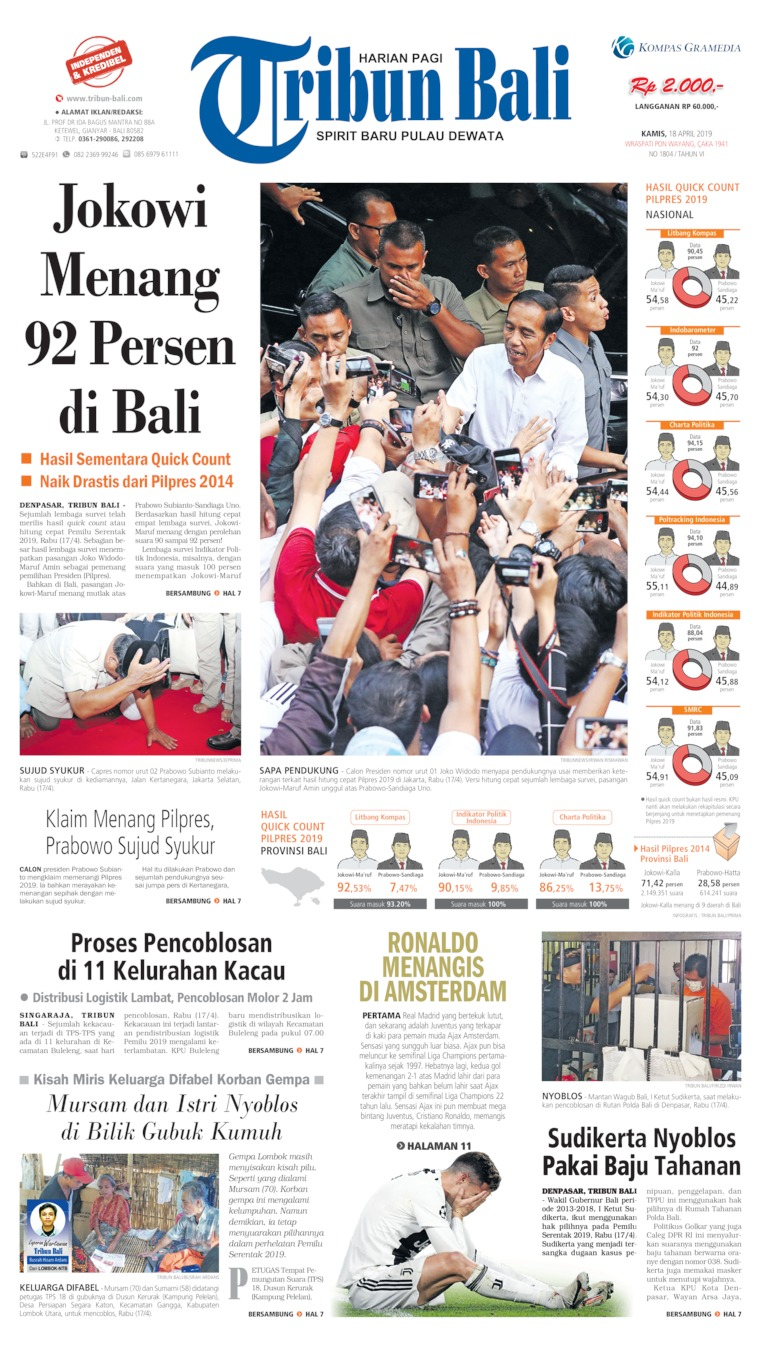 Tribun Bali Digital Newspaper 18 April 2019