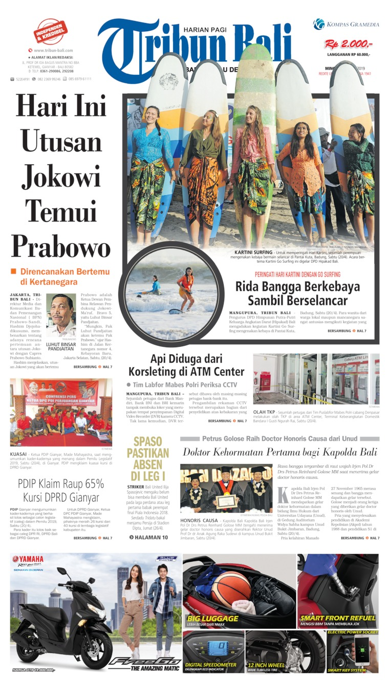 Tribun Bali Digital Newspaper 21 April 2019