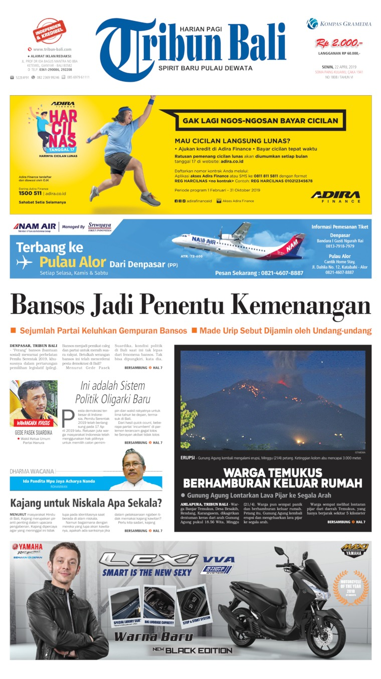 Tribun Bali Digital Newspaper 22 April 2019