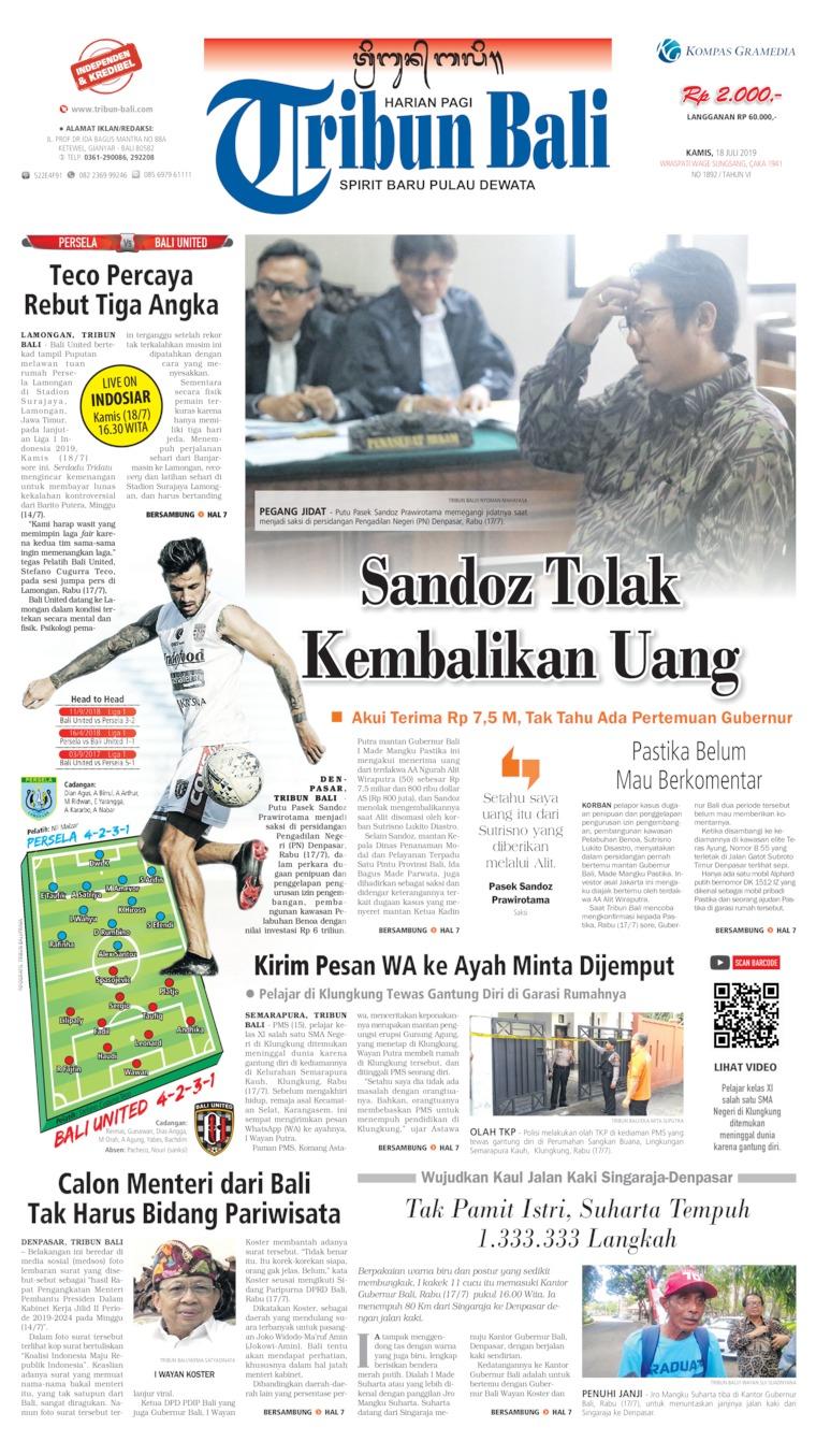 Tribun Bali Digital Newspaper 18 July 2019