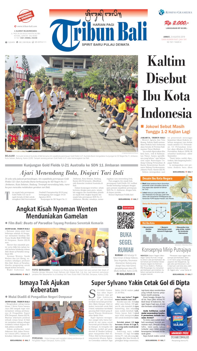 Tribun Bali Digital Newspaper 23 August 2019