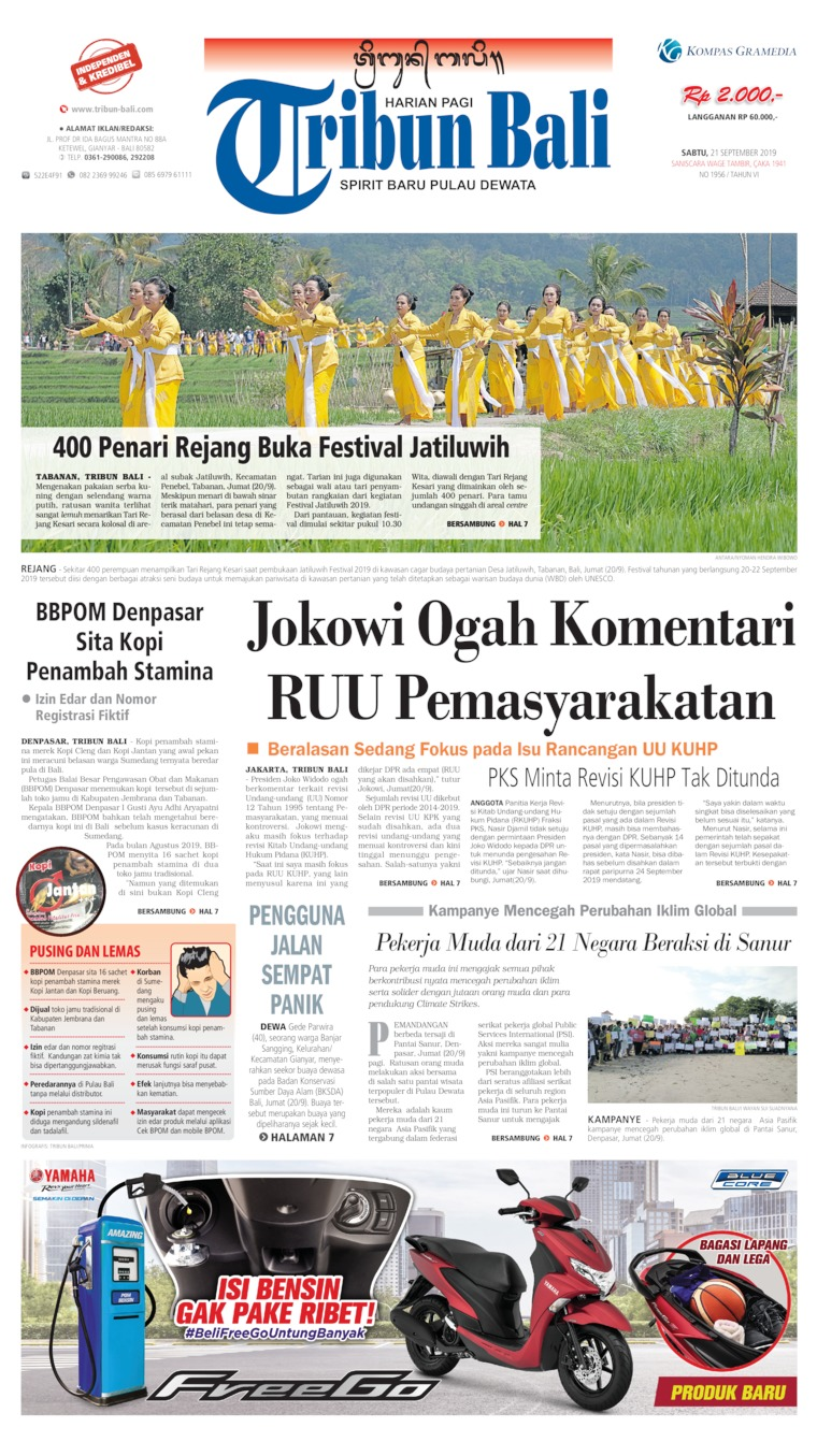 Tribun Bali Digital Newspaper 21 September 2019