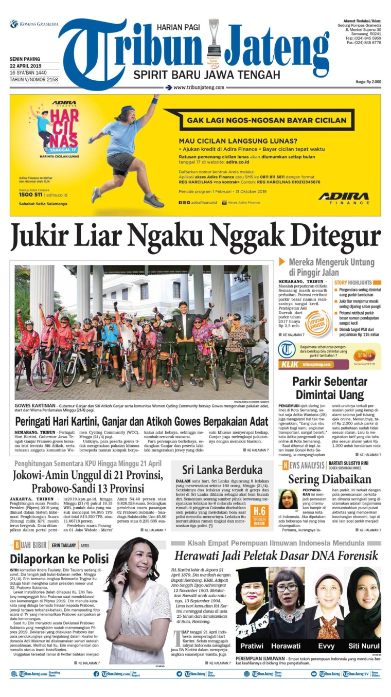 Tribun Jateng Digital Newspaper 22 April 2019