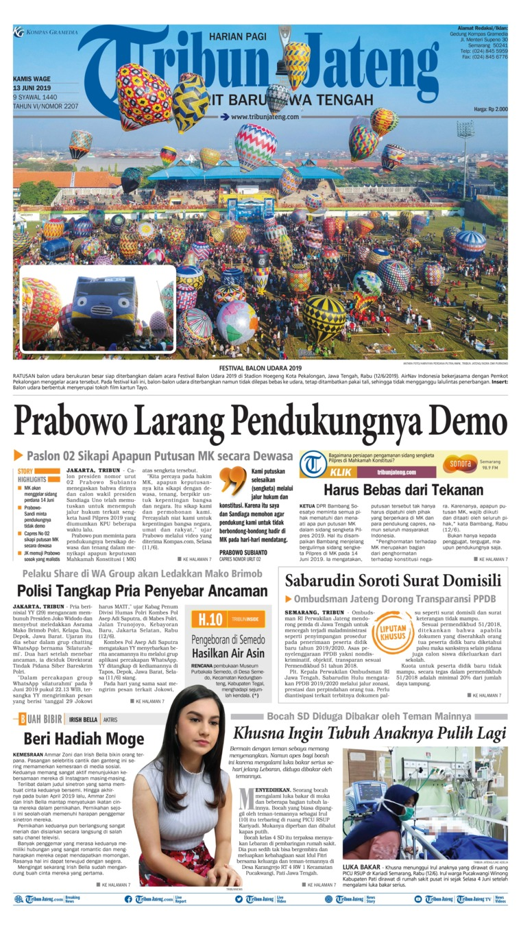 Tribun Jateng Digital Newspaper 13 June 2019