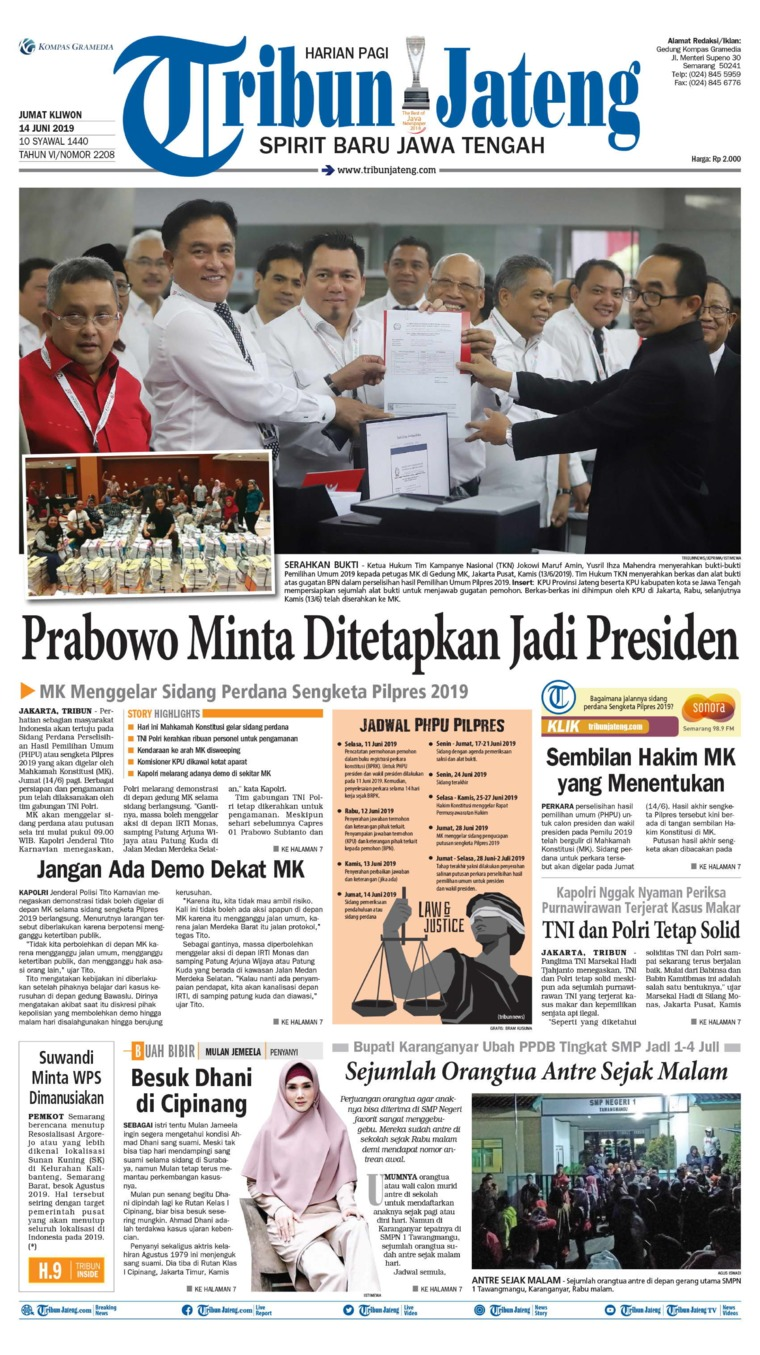 Tribun Jateng Digital Newspaper 14 June 2019
