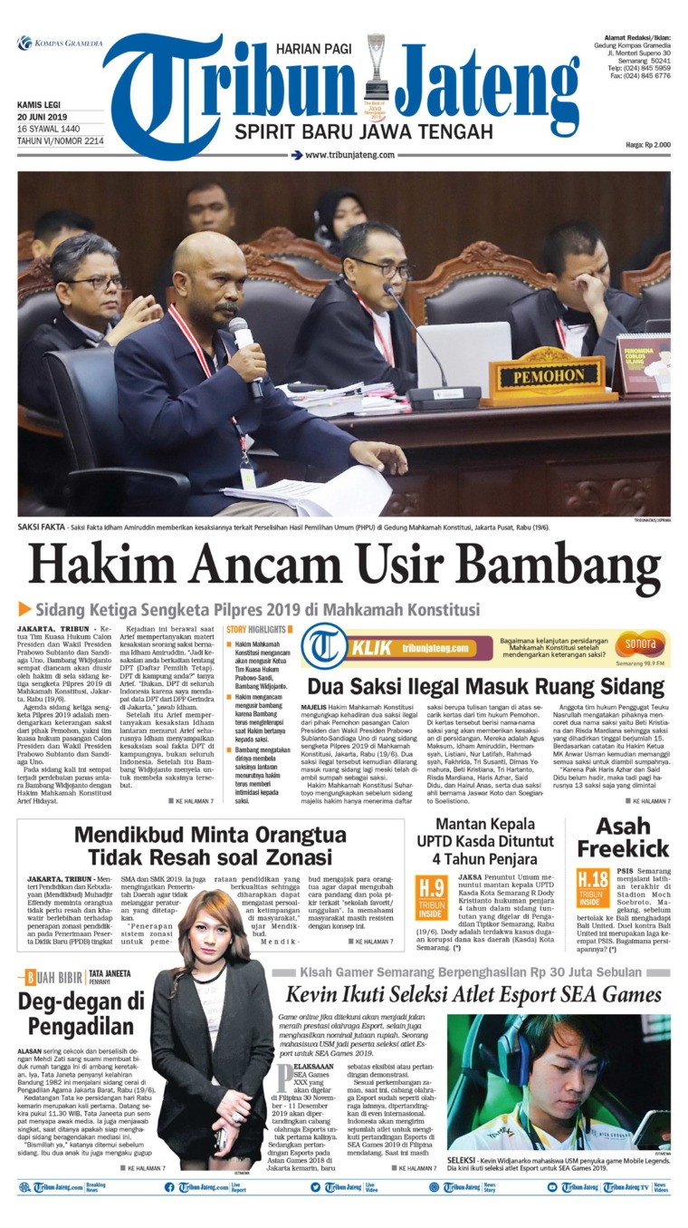 Tribun Jateng Digital Newspaper 20 June 2019