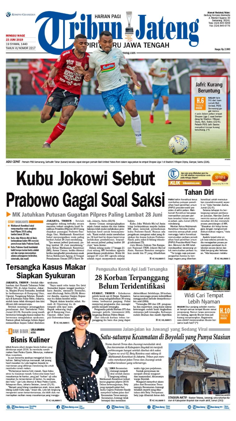 Tribun Jateng Digital Newspaper 23 June 2019