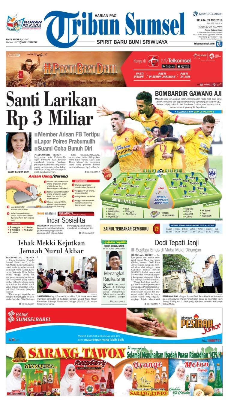 Tribun Sumsel Digital Newspaper 22 May 2018