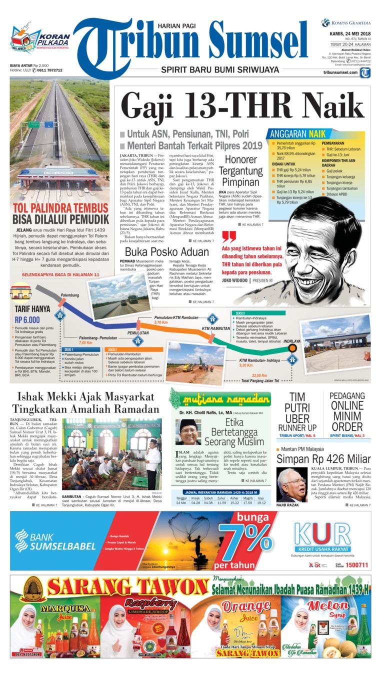 Tribun Sumsel Newspaper 24 May 2018 Gramedia Digital