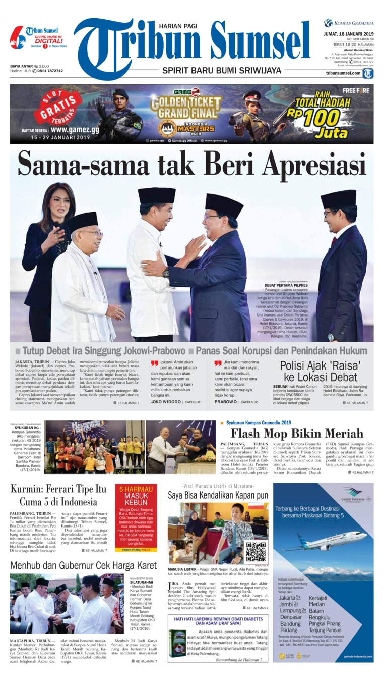 Tribun Sumsel Digital Newspaper 18 January 2019