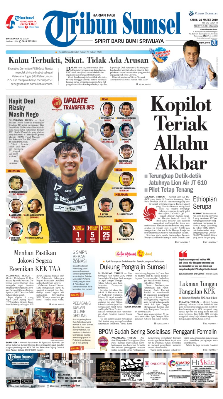 Koran Digital Tribun Sumsel 21 Maret 2019