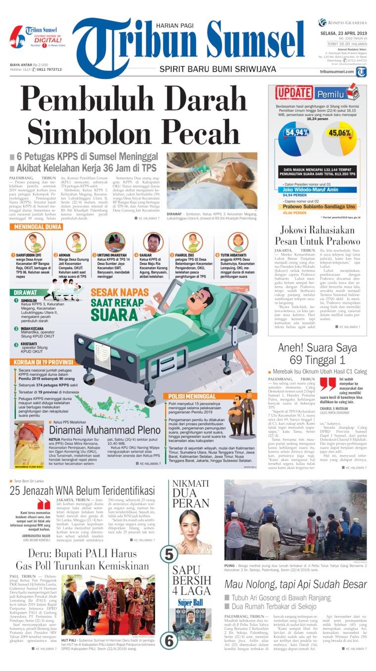 Tribun Sumsel Digital Newspaper 23 April 2019