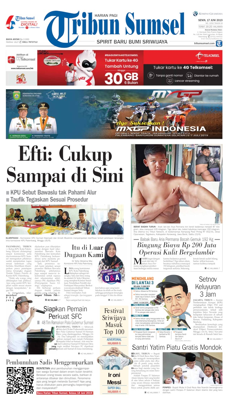 Tribun Sumsel Digital Newspaper 17 June 2019