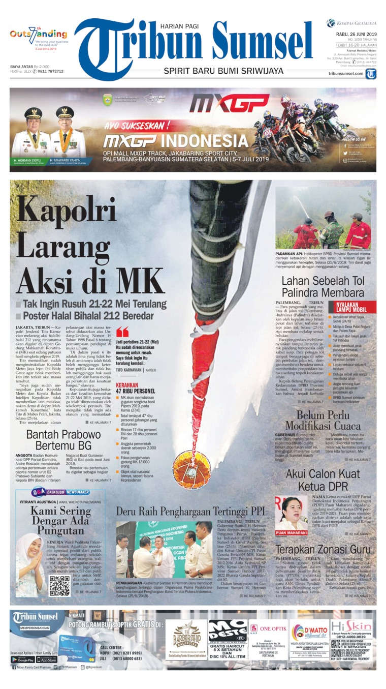 Tribun Sumsel Digital Newspaper 26 June 2019
