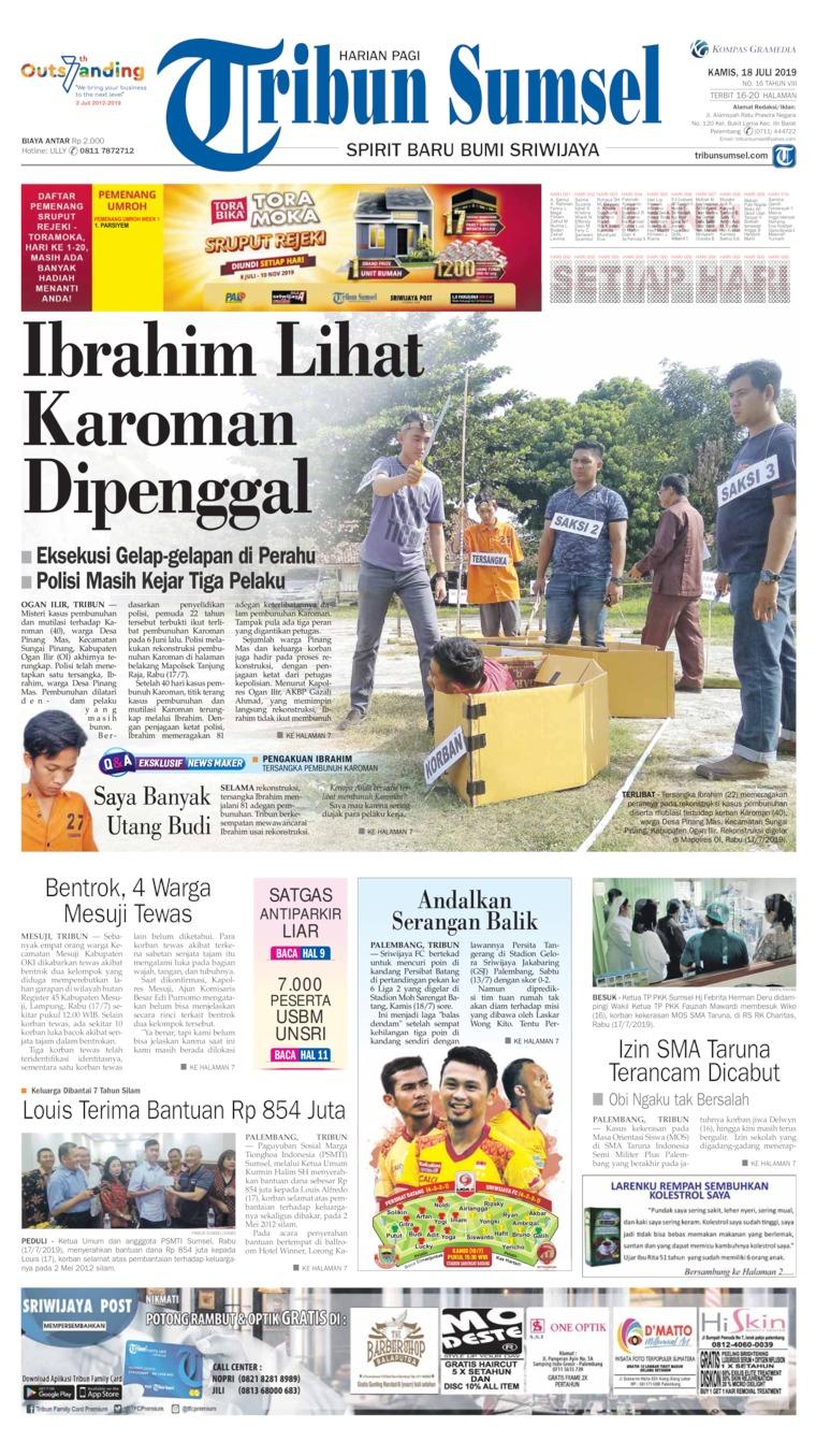 Tribun Sumsel Digital Newspaper 18 July 2019
