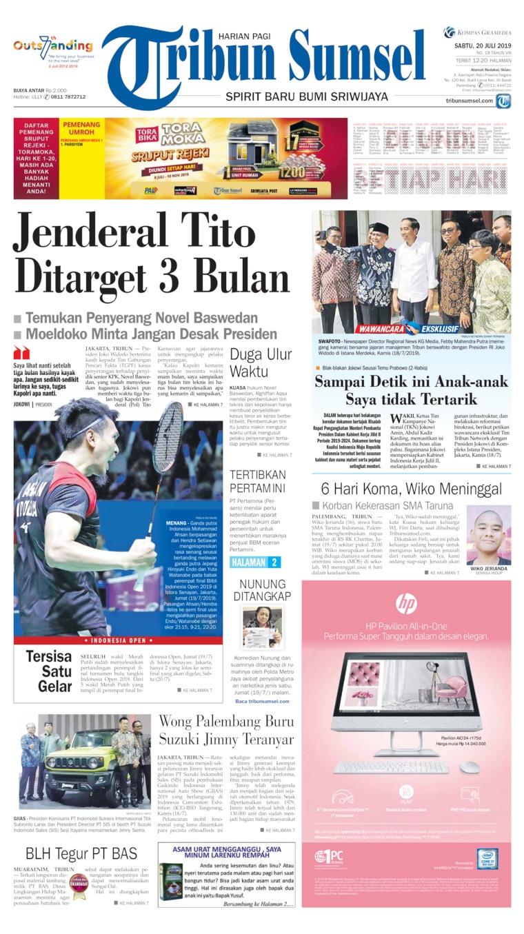 Koran Digital Tribun Sumsel 20 Juli 2019