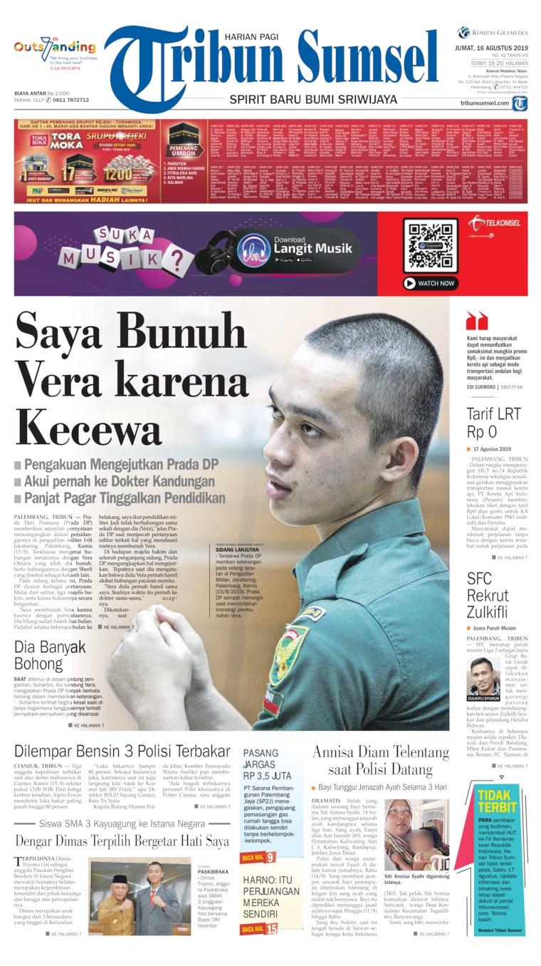 Tribun Sumsel Digital Newspaper 16 August 2019