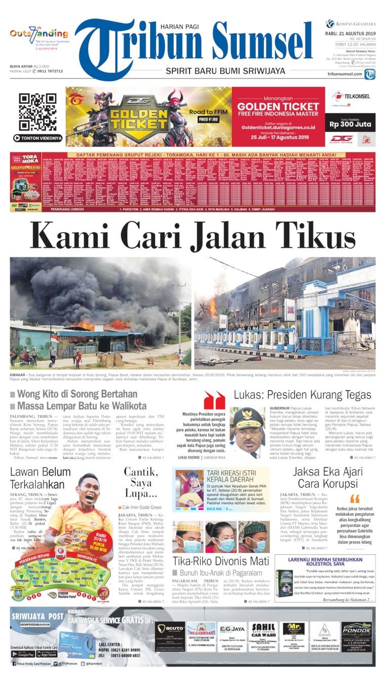Tribun Sumsel Digital Newspaper 21 August 2019