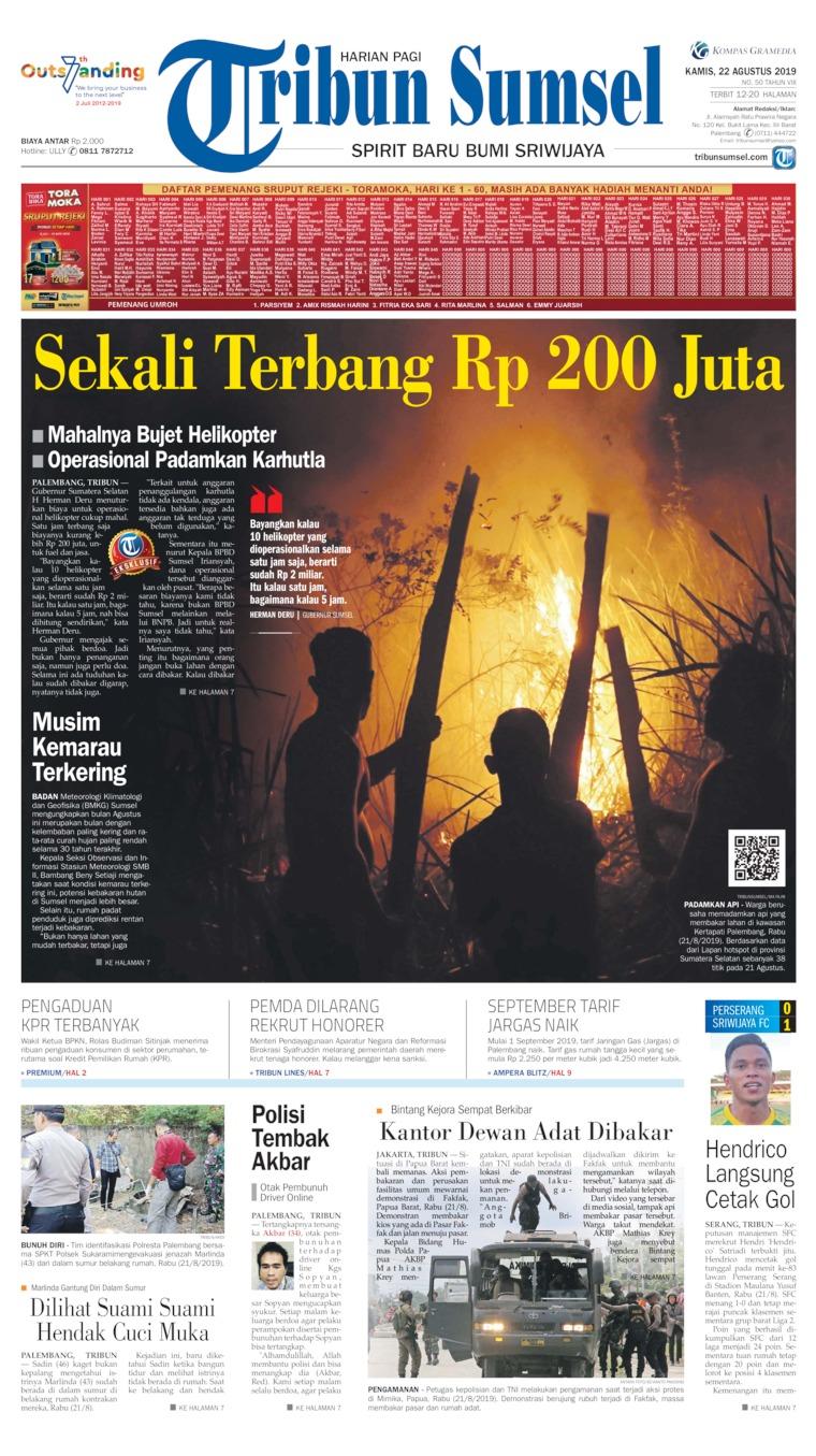 Tribun Sumsel Digital Newspaper 22 August 2019