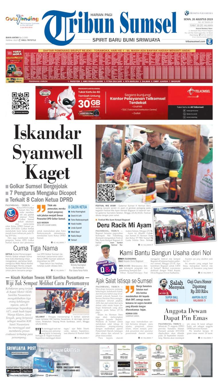 Tribun Sumsel Digital Newspaper 26 August 2019