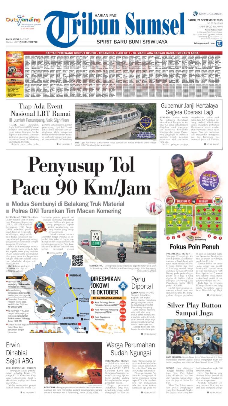 Tribun Sumsel Digital Newspaper 21 September 2019