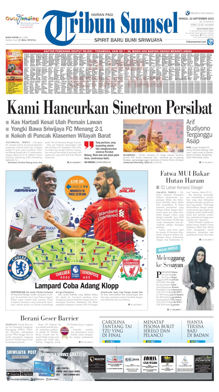 Tribun Sumsel Digital Newspaper 22 September 2019