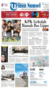 Cover Tribun Sumsel 19 Oktober 2018