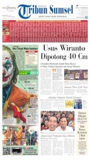 Cover Tribun Sumsel 12 Oktober 2019