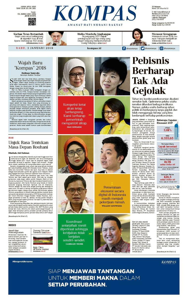 KOMPAS Digital Newspaper [Pagi] 03 January 2018