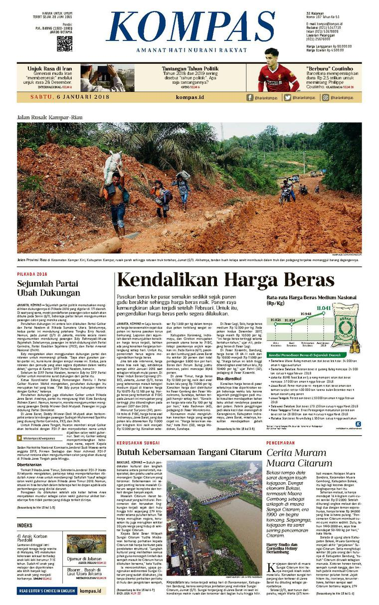 KOMPAS Digital Newspaper [Pagi] 06 January 2018