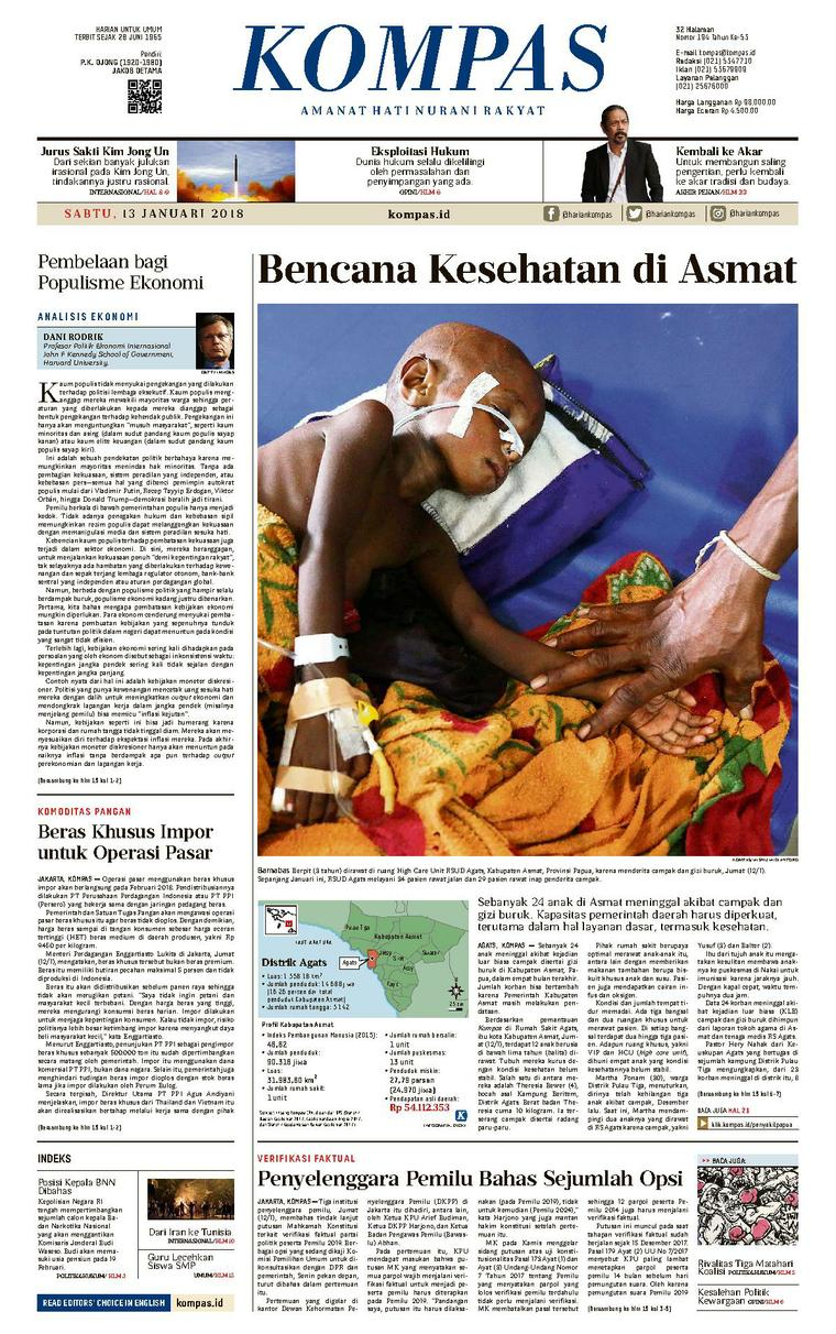 Koran Digital KOMPAS [Pagi] 13 Januari 2018