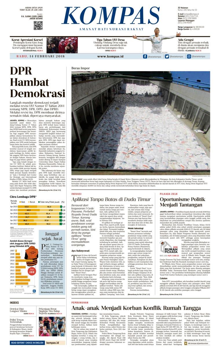 Koran Digital KOMPAS [Pagi] 14 Februari 2018