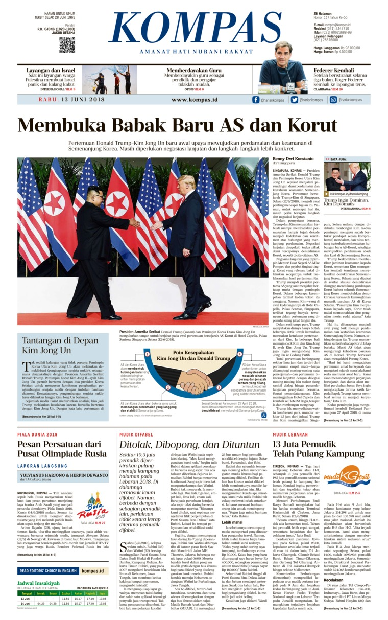 KOMPAS Digital Newspaper 13 June 2018